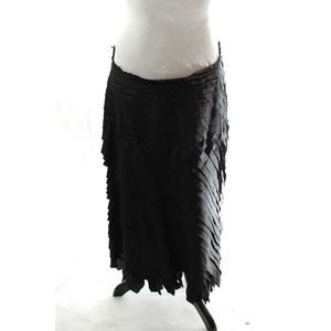 Anne Klein Silk Skirt Women Black Ruffle Lined 6